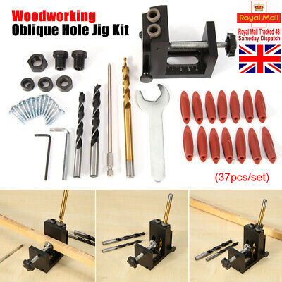 Pocket Hole Jig Kit System Wood Working Joinery Tool Set With Step Drill Bit NEW