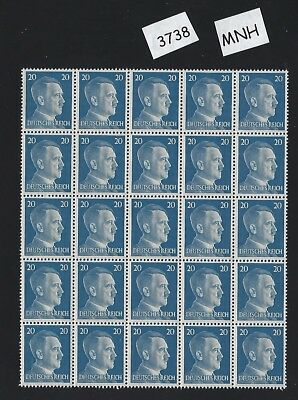 #3738  MNH  Adolph Hitler stamp block of 25 1941, PF20 sheet Third Reich Germany
