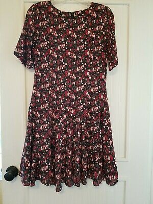 feb8dc8f1d02 H&M Divided Black Multicolor Lined Floral Rose Women's Fit Flare Dress Size  6