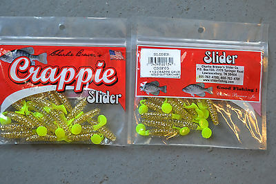 2 packs charlie brewer sliders cbpf335 bubble gum//chart  1 inch crappie grubs