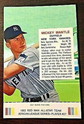 1952 Red Man Tobacco Mickey Mantle Postcard