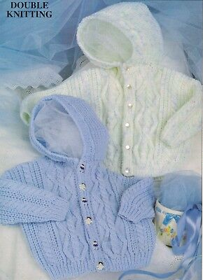 Knitting Pattern Lovely BABY GIRLS BOYS HOODED JACKET DK 46 - 61 cm 18 - 24 in