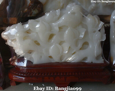 """20"""" China Natural White Jade Handwork Carving Orchid Flower Magpie Birds Statue"""