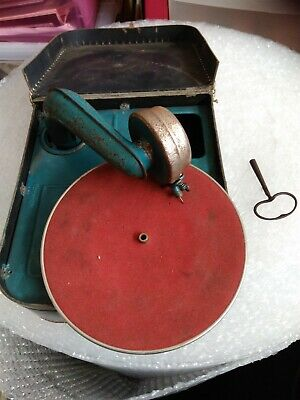 Vintage portable wind up record player