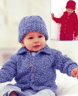 "BABY CABLE CARDIGAN BLANKET  /& HAT   Knitting Pattern 16-22 /"" DK 9B"