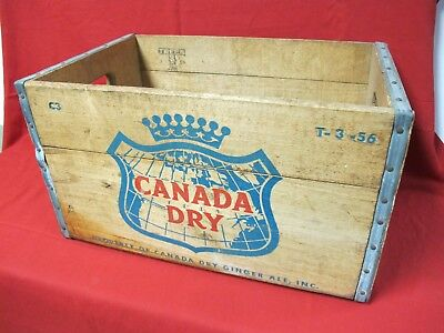 Vintage CANADA DRY Ginger Ale C3 T 3-56 Wooden Crate Bottle Box 1956