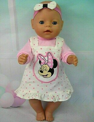 "Dolls clothes for 17"" Baby Born~Cabbage Patch Doll~MINNIE MOUSE SPOTTY PINAFORE"
