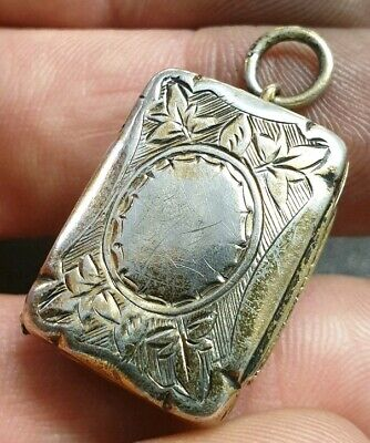 Antique Victorian Solid Silver Vinaigrette Case Hilliard & Thomason 1878 Gilded
