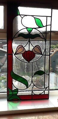 Vintage Stained Glass Panel / Window. No Frame. Reds, Greens and Maroon