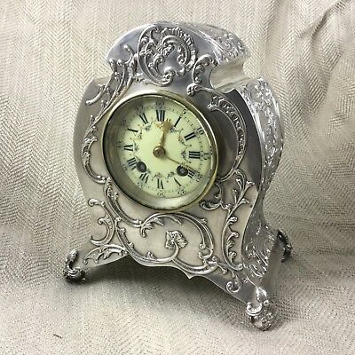 Antique English Silver Mantle Clock William Comyns Art Nouveau Hallmarked 1900