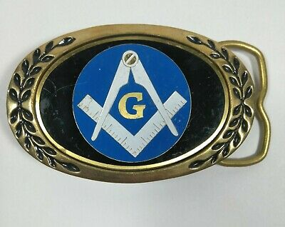 Vintage Belt Buckle MASONIC HERITAGE BUCKLE tm SOLID BRASS MADE IN TAIWAN
