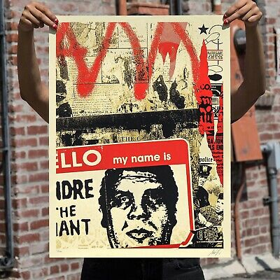 """OBEY Shepard Fairey """"Hello My Name Is"""" Signed & Numbered Screen Print"""