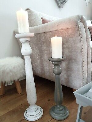 Hand Carved Grey And White Distressed Mango Wood Tall Pillar Candle Stick Pair