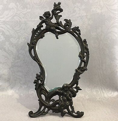 Antique 1878 French Paris Paul Courtier Paris Cast Bronze Vanity Mirror Ornate