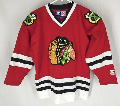 f4e3f32579d Vintage Chicago Blackhawks Starter NHL Hockey Jersey Youth S/M Embroidered