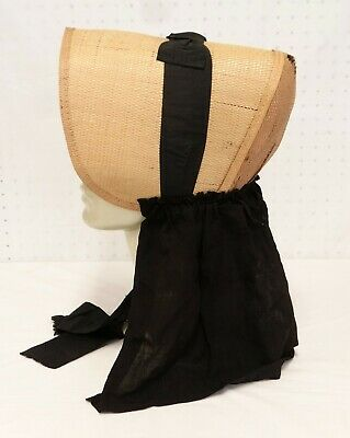 ANTIQUE SHAKER BONNET Woven Straw 19th c Numbered 12 Attached Neck Cape AS IS