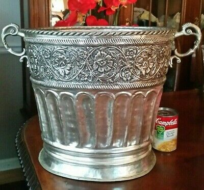 Repousse Silverplate Jardiniere Planter HUGE 19 inches