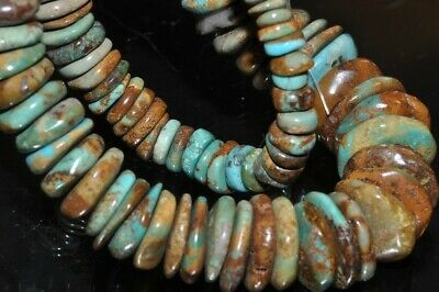 "85Gms 15.5"" ""Unique & Rare""~HUBEI TURQUOIS Graduated Irregular Coin Beads F1233"