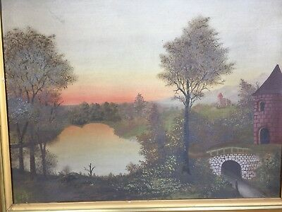 Old 1800s oil painting landscape academy board unsigned medieval Scene