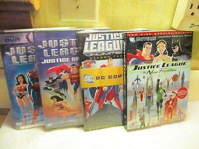 4 Brand New Sealed Dc Comics Justice League Dvds Superman Batman Wonder Woman