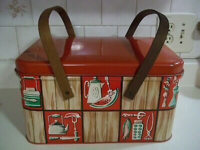 Vintage DECOWARE Red Green Tan Litho Picnic Basket Wooden Handles
