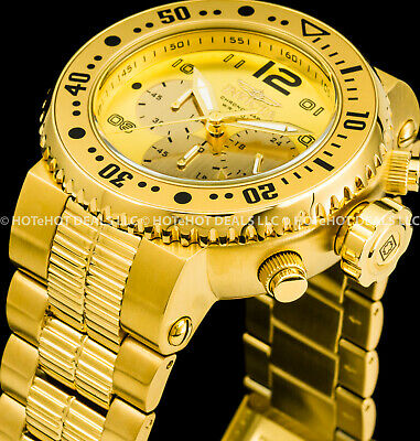 Invicta Mens 52mm Pro Diver Combat Seal Chronograph 18k Gold Plated SS 500 Watch