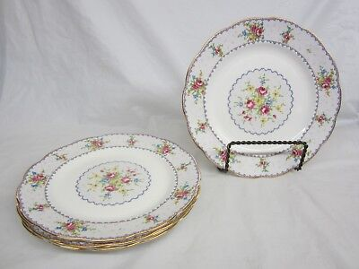 Lot of 5 Round Royal Albert Petit Point  Dinner Plates 10 and 1/4 inches  Nice