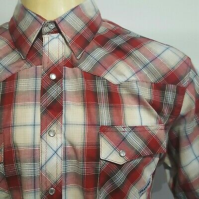 Wrancher By Wrangler Mens XLT Red Plaid Pearl Snap Button Western Shirt