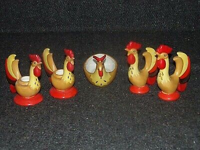 1960's HOWARD HOLT VINTAGE CERAMIC ROOSTER 5 Pc. SET~S & P-Candle Holders-Dish