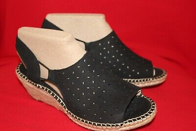a6df779865 Clarks Artisan Leather Espadrille Wedge Sandals - Petrina Gail 8.5W Black  NWOB