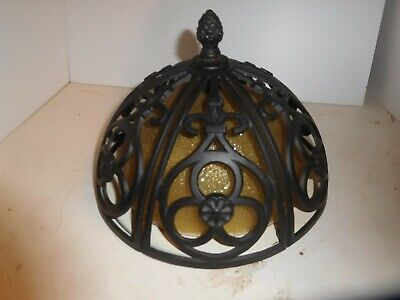 Vintage Wrought Iron Amber Glass Ceiling Light Fixture Antique Gothic Look Lamp