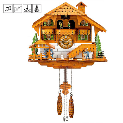 Kintrot Cuckoo Clock Black Forest Quartz Wall Clock Pendulum Movable Bird, Wood