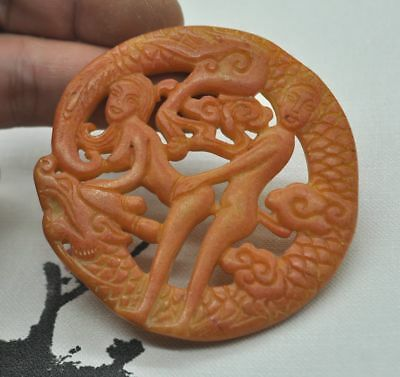 Chinese ancient old hard jade hand-carved pendant necklace~Pornography  M05