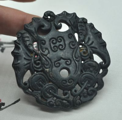 Chinese ancient old hard jade hand-carved pendant necklace~Bat  M05