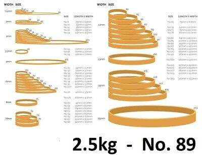 2.5kg   Superior Quality No. 89  Rubber Bands  150mm x 12mm   BULK BUY  5 x 500g