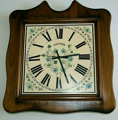 Beautiful Vintage Verichron Solid Wood Floral Wall Clock Accurate Time