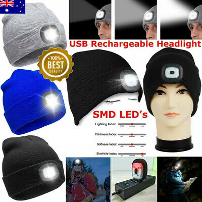 4 Led Light Cap Headlamp Beanie-Hat USB Rechargeable Hat For Camping Fishing AU