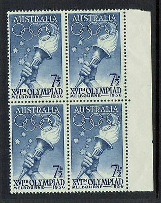 AUSTRALIA PRE-DECIMAL ...1956 OLYMPIC GAMES...71/2d TORCH , BLOCK OF 4......MUH