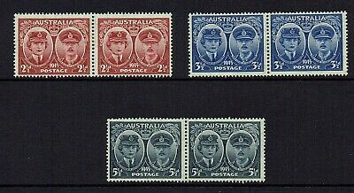 Australia Pre-Decimal...1945 Gloucester...set Of 3 .In Joined Pairs   Mh