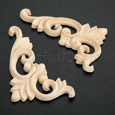 11*6cm Beautiful European Style Unpainted Woodcarving Corner Decal Craft Decor