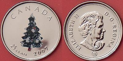 Proof Like 2007 Canada Christmas Tree Color 25 Cents From Mint's Set