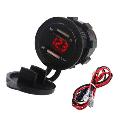 Dual USB Car Charger Socket Power Adapter With LED Voltage Display Replacement