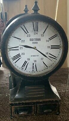 Vintage Industrial Reclaimed Salvage Style Metal Wall Free Stand Clock 2 Drawers