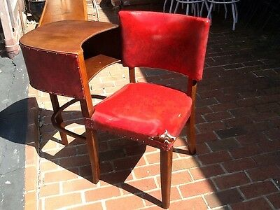 Vintage Mid Century Bentwood Phone Table With Attached Chair - Very Good
