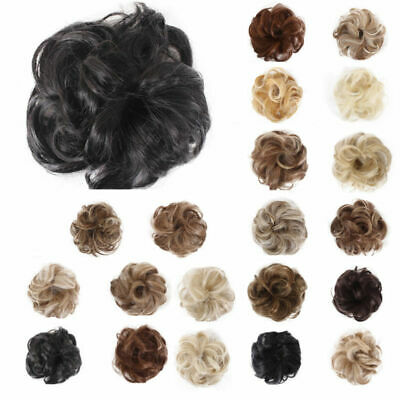 Women Hair Bun Curly Wave Clip Comb In Hair Extension Chignon Hairpiece Wig