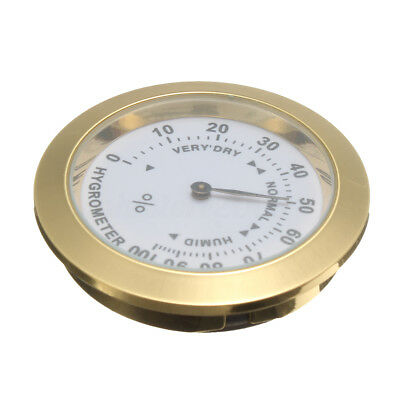 Brass Analog Hygrometer Cigar Tobacco Humidity Gauge w/Glass Lens for Humidors N