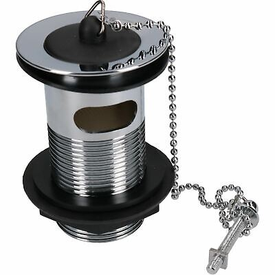 """1 1/4"""" (32mm) Chrome Plated Slotted Basin Waste Rubber Plug & Chain Sink Bath"""