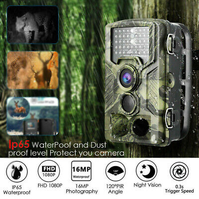 16MP Hunting Trail Camera HD 1080P Wildlife Waterproof Scouting Cam Night Vision