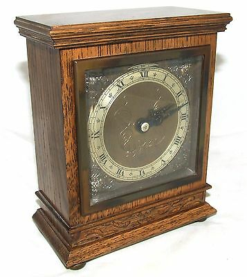 Oak with Blind Fretwork Bracket Mantel Clock by ELLIOTT LONDON