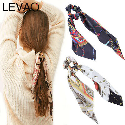 Women's Hair Scrunchies Scarf Bow Hair Tie Rubber Ropes Ponytail Holders Ribbon